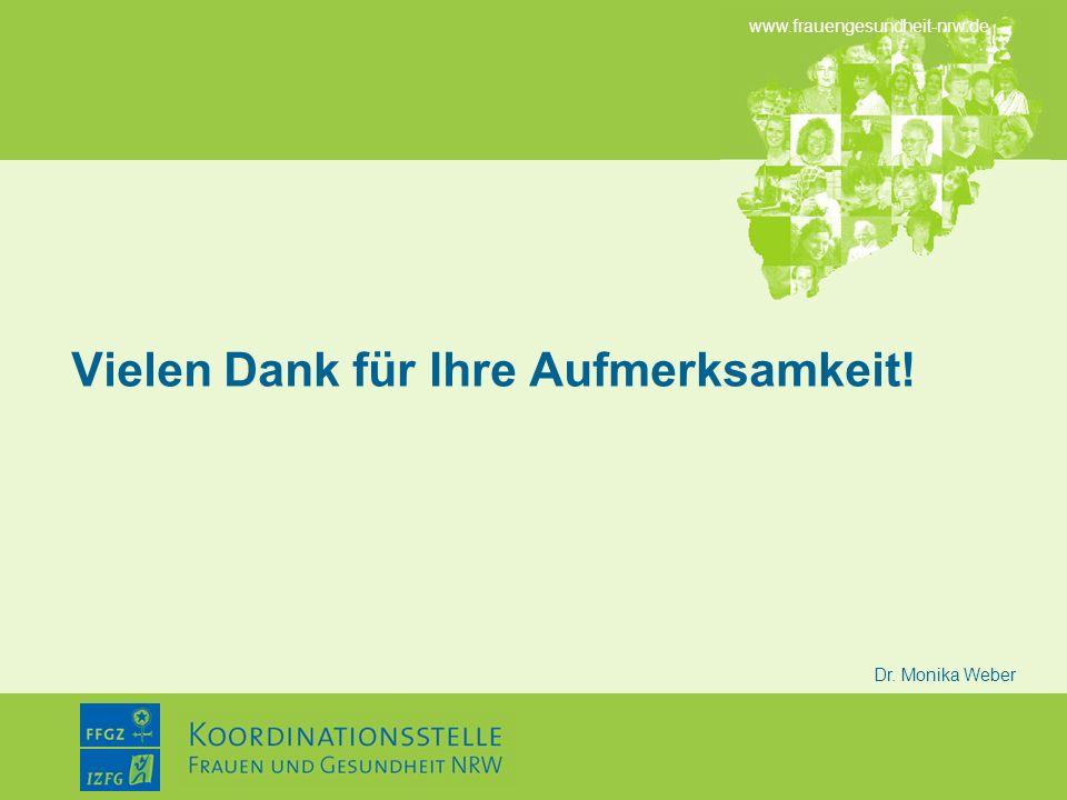 www.frauengesundheit-nrw.de Dr. Monika Weber Vielen Dank für Ihre Aufmerksamkeit!