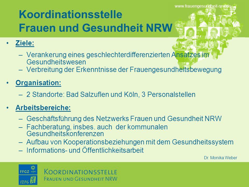 www.frauengesundheit-nrw.de Dr. Monika Weber Koordinationsstelle Frauen und Gesundheit NRW Ziele: –Verankerung eines geschlechterdifferenzierten Ansat