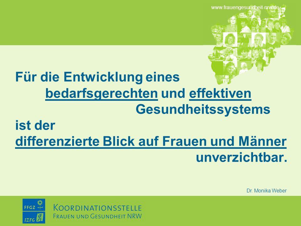 www.frauengesundheit-nrw.de Dr. Monika Weber Für die Entwicklung eines bedarfsgerechten und effektiven Gesundheitssystems ist der differenzierte Blick