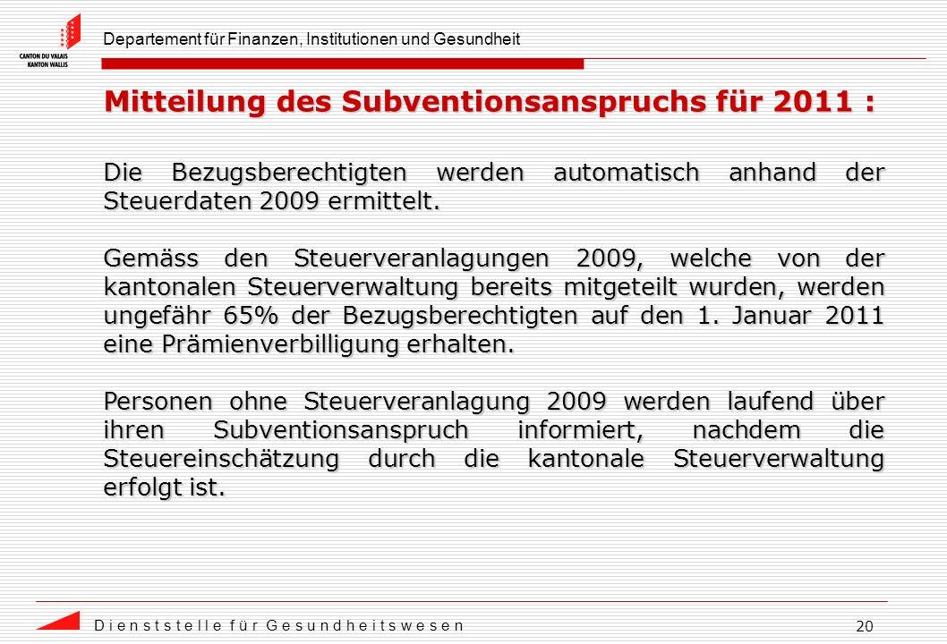 Departement für Finanzen, Institutionen und Gesundheit D i e n s t s t e l l e f ü r G e s u n d h e i t s w e s e n 20 Mitteilung des Subventionsanspruchs für 2011 : Die Bezugsberechtigten werden automatisch anhand der Steuerdaten 2009 ermittelt.