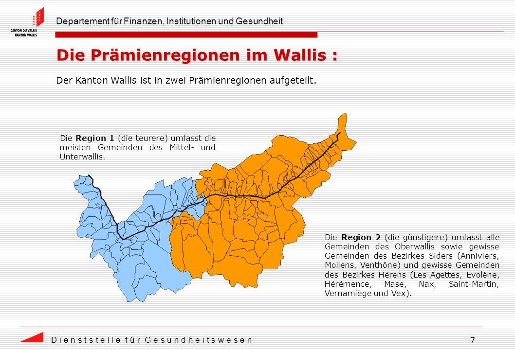 Departement für Finanzen, Institutionen und Gesundheit D i e n s t s t e l l e f ü r G e s u n d h e i t s w e s e n 7 Die Prämienregionen im Wallis : Der Kanton Wallis ist in zwei Prämienregionen aufgeteilt.