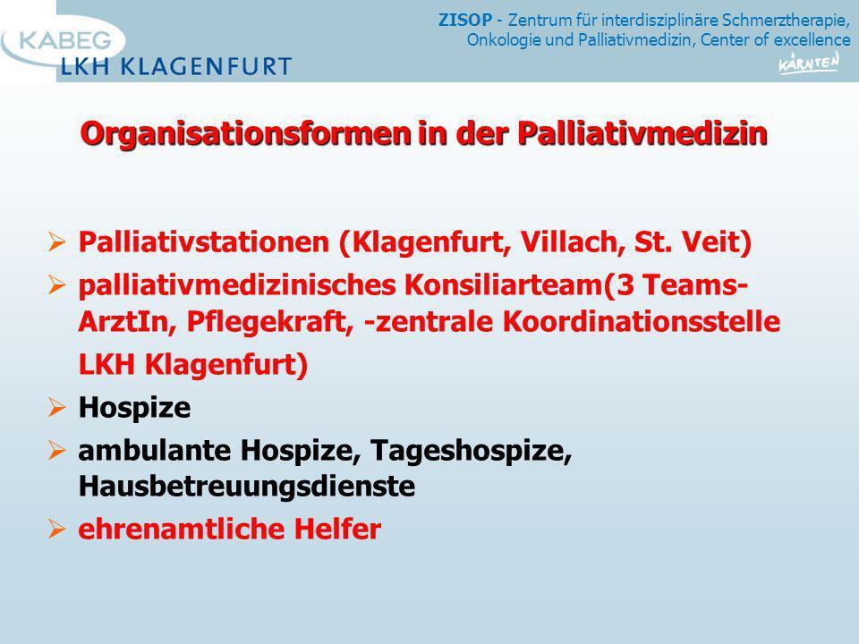 ZISOP - Zentrum für interdisziplinäre Schmerztherapie, Onkologie und Palliativmedizin, Center of excellence Organisationsformen in der Palliativmedizi