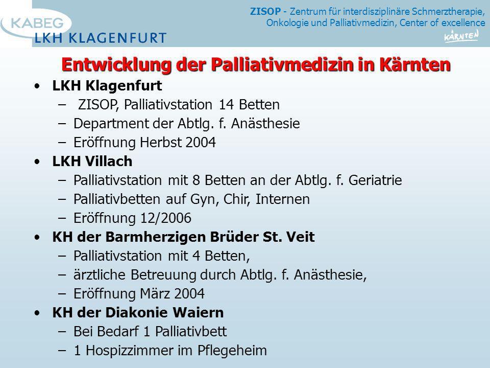 ZISOP - Zentrum für interdisziplinäre Schmerztherapie, Onkologie und Palliativmedizin, Center of excellence LKH Klagenfurt – ZISOP, Palliativstation 1