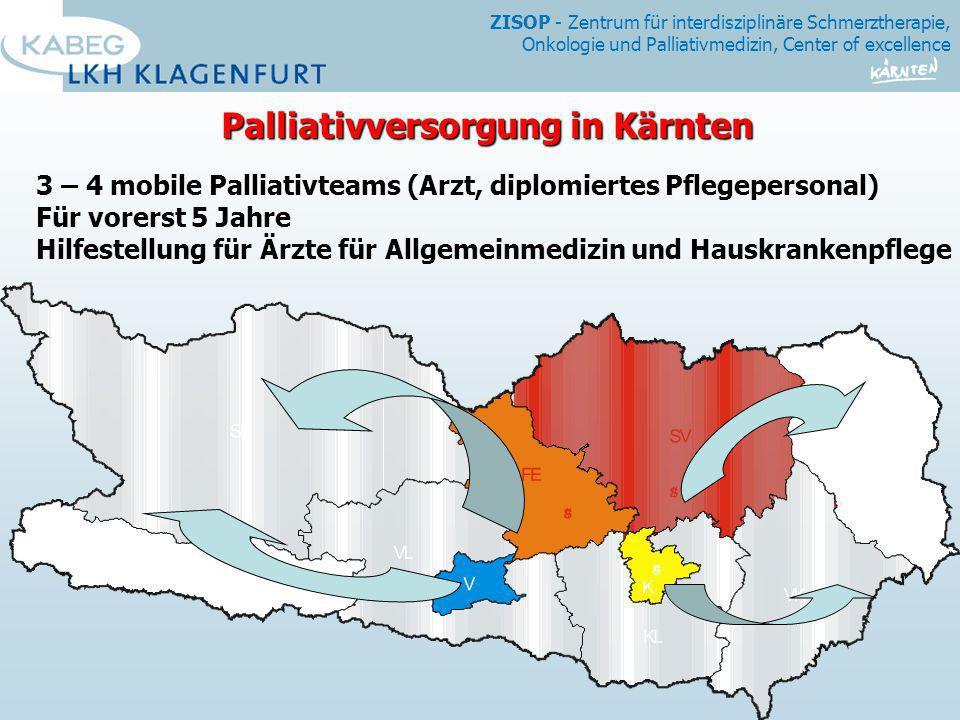 ZISOP - Zentrum für interdisziplinäre Schmerztherapie, Onkologie und Palliativmedizin, Center of excellence Palliativversorgung in Kärnten 3 – 4 mobil