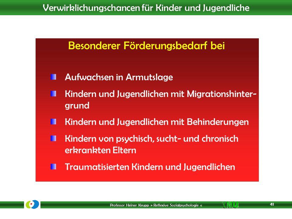 Professor Heiner Keupp » Reflexive Sozialpsychologie Professor Heiner Keupp » Reflexive Sozialpsychologie « Verwirklichungschancen für Kinder und Juge