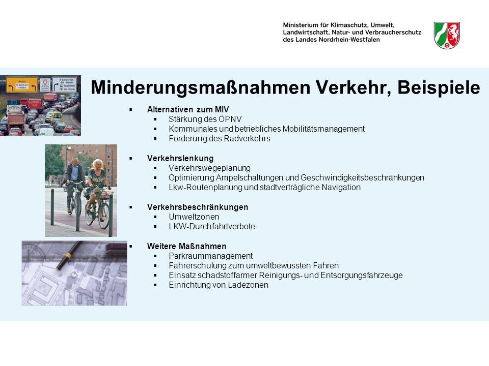 Minderungsmaßnahmen Verkehr, Beispiele Alternativen zum MIV Stärkung des ÖPNV Kommunales und betriebliches Mobilitätsmanagement Förderung des Radverke