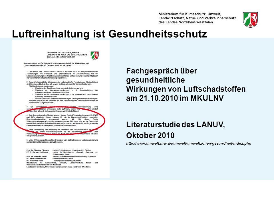 Luftreinhaltung ist Gesundheitsschutz Fachgespräch über gesundheitliche Wirkungen von Luftschadstoffen am 21.10.2010 im MKULNV Literaturstudie des LANUV, Oktober 2010 http://www.umwelt.nrw.de/umwelt/umweltzonen/gesundheit/index.php