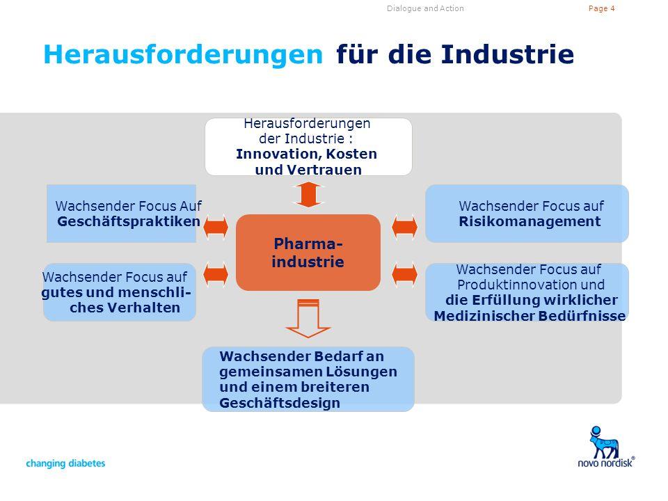 Page 4Dialogue and Action Herausforderungen für die Industrie Pharma- industrie Wachsender Focus auf Risikomanagement Wachsender Focus auf Produktinno