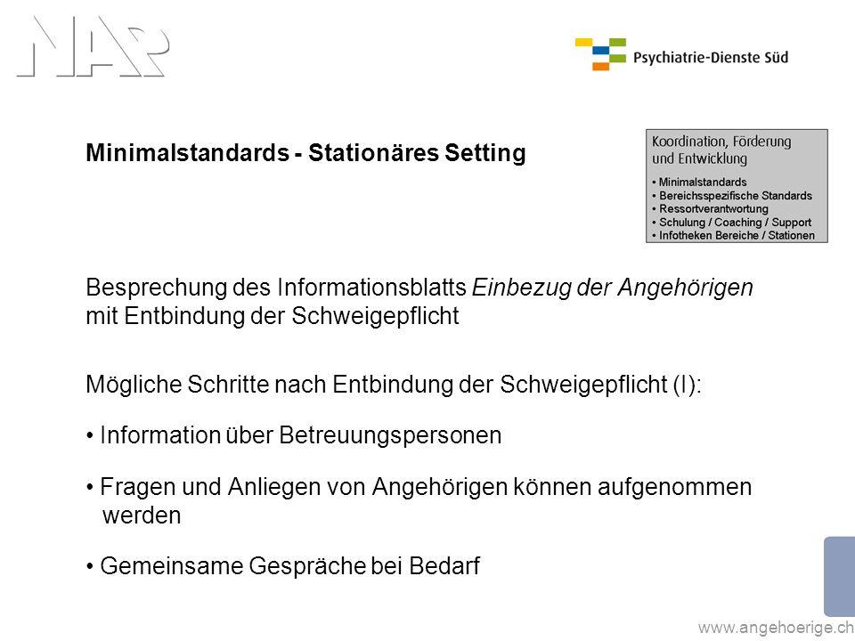 www.angehoerige.ch Minimalstandards - Stationäres Setting Besprechung des Informationsblatts Einbezug der Angehörigen mit Entbindung der Schweigepflic