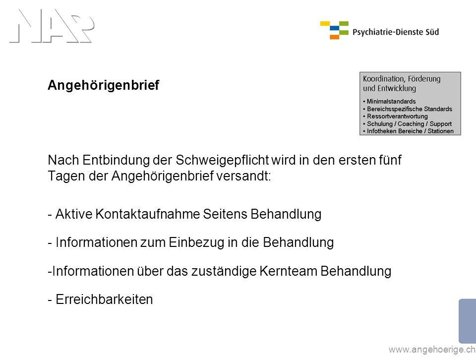 www.angehoerige.ch Angehörigenbrief Nach Entbindung der Schweigepflicht wird in den ersten fünf Tagen der Angehörigenbrief versandt: - Aktive Kontakta