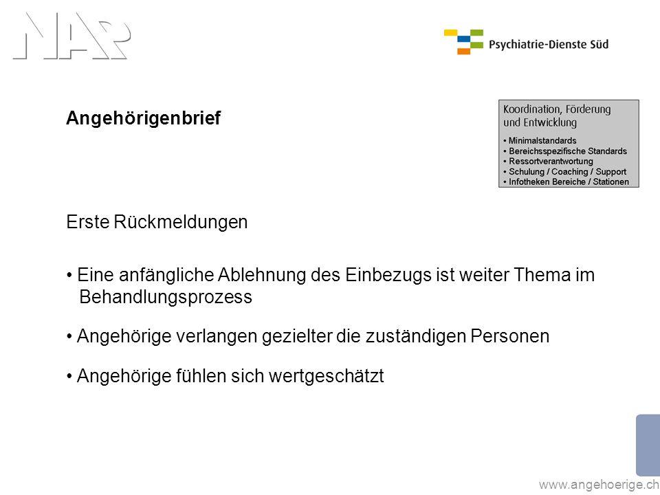 www.angehoerige.ch Angehörigenbrief Erste Rückmeldungen Eine anfängliche Ablehnung des Einbezugs ist weiter Thema im Behandlungsprozess Angehörige ver
