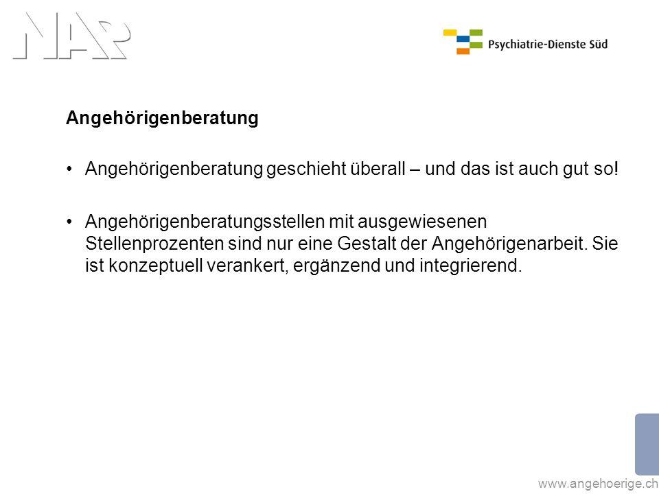www.angehoerige.ch Angehörigenberatung Angehörigenberatung geschieht überall – und das ist auch gut so! Angehörigenberatungsstellen mit ausgewiesenen