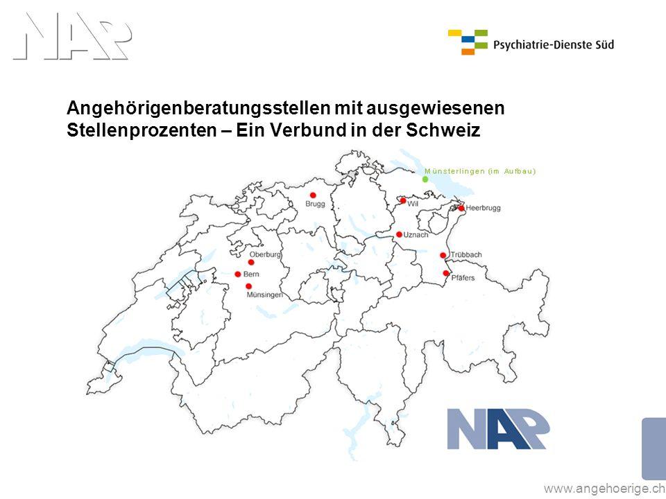 www.angehoerige.ch Angehörigenberatungsstellen mit ausgewiesenen Stellenprozenten – Ein Verbund in der Schweiz