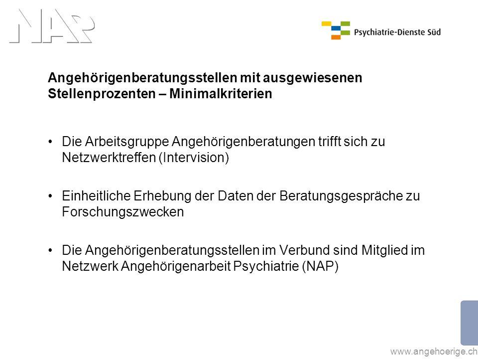 www.angehoerige.ch Kennzahlen 2011 Nachfolgende Kennzahlen betreffen die Angehörigenberatungen schweizweit der Angehörigenberatungsstellen mit ausgewiesenen Stellenprozenten.