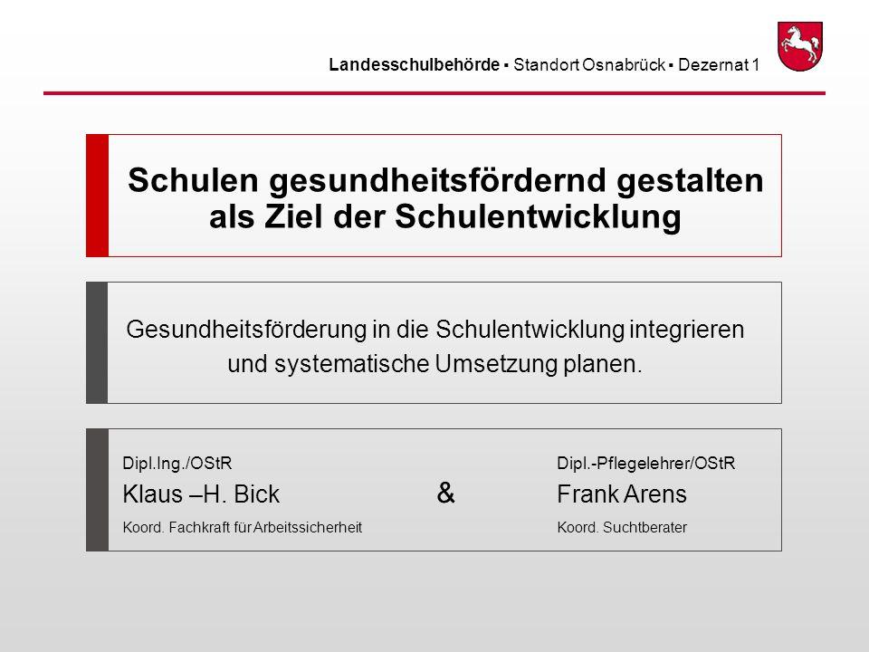 Landesschulbehörde Standort Osnabrück Dezernat 1 April09 – 2 von 31 Inhalt Ergebnisse zur Lehrergesundheit Lehrergesundheit und Schulqualität Angebote der Teilbereiche -Arbeitsschutz – - Arbeitspsychologie – - Suchtberatung - Ausblick und Diskussion Verhaltens- und Verhältnisprävention