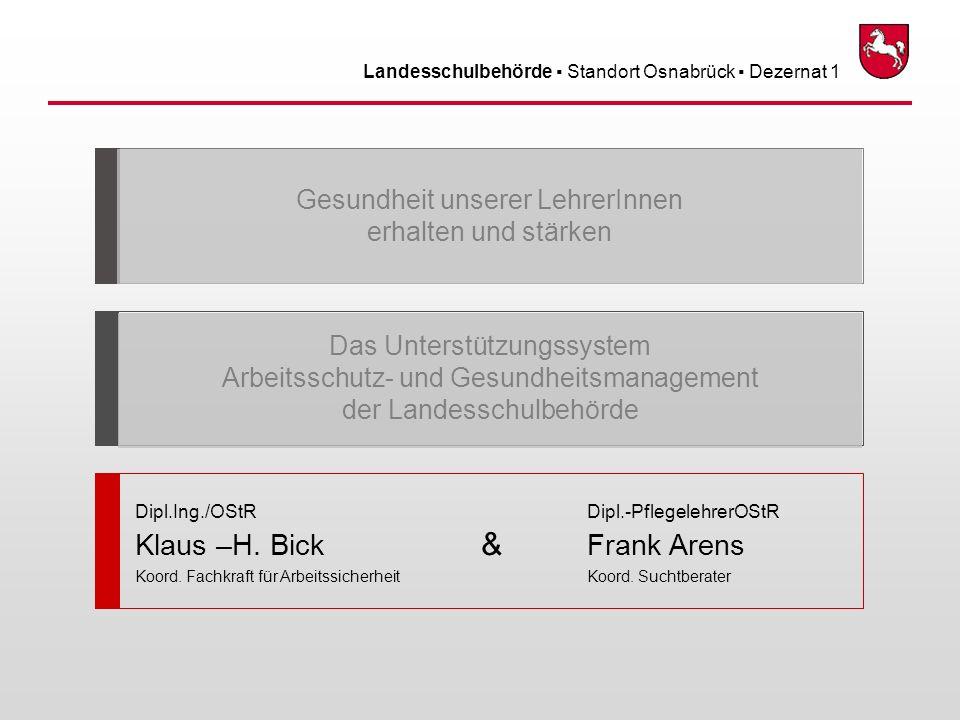 Landesschulbehörde Standort Osnabrück Dezernat 1 Dipl.Ing./OStR Dipl.-PflegelehrerOStR Klaus –H. Bick & Frank Arens Koord. Fachkraft für Arbeitssicher