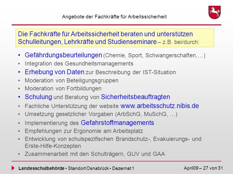 Landesschulbehörde Standort Osnabrück Dezernat 1 April09 – 27 von 31 Angebote der Fachkräfte für Arbeitssicherheit Die Fachkräfte für Arbeitssicherhei