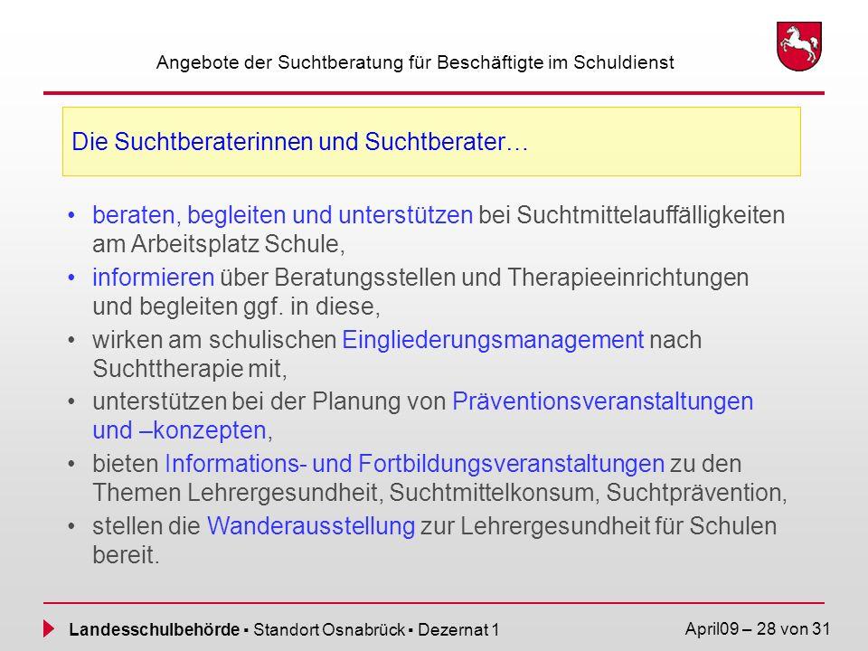 Landesschulbehörde Standort Osnabrück Dezernat 1 April09 – 28 von 31 Angebote der Suchtberatung für Beschäftigte im Schuldienst Die Suchtberaterinnen