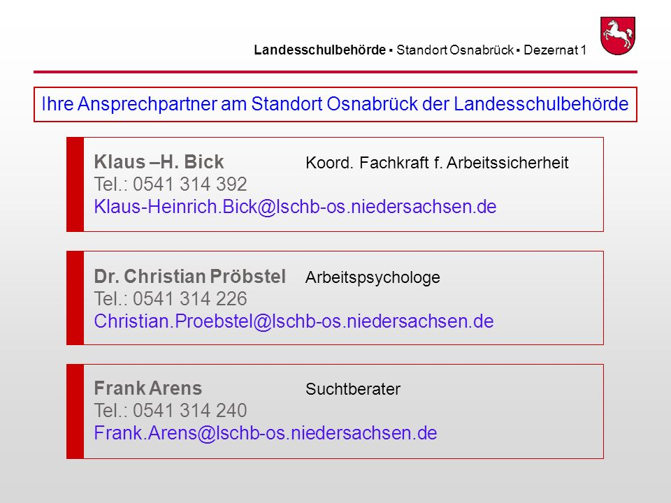 Landesschulbehörde Standort Osnabrück Dezernat 1 Ihre Ansprechpartner am Standort Osnabrück der Landesschulbehörde Klaus –H. Bick Koord. Fachkraft f.