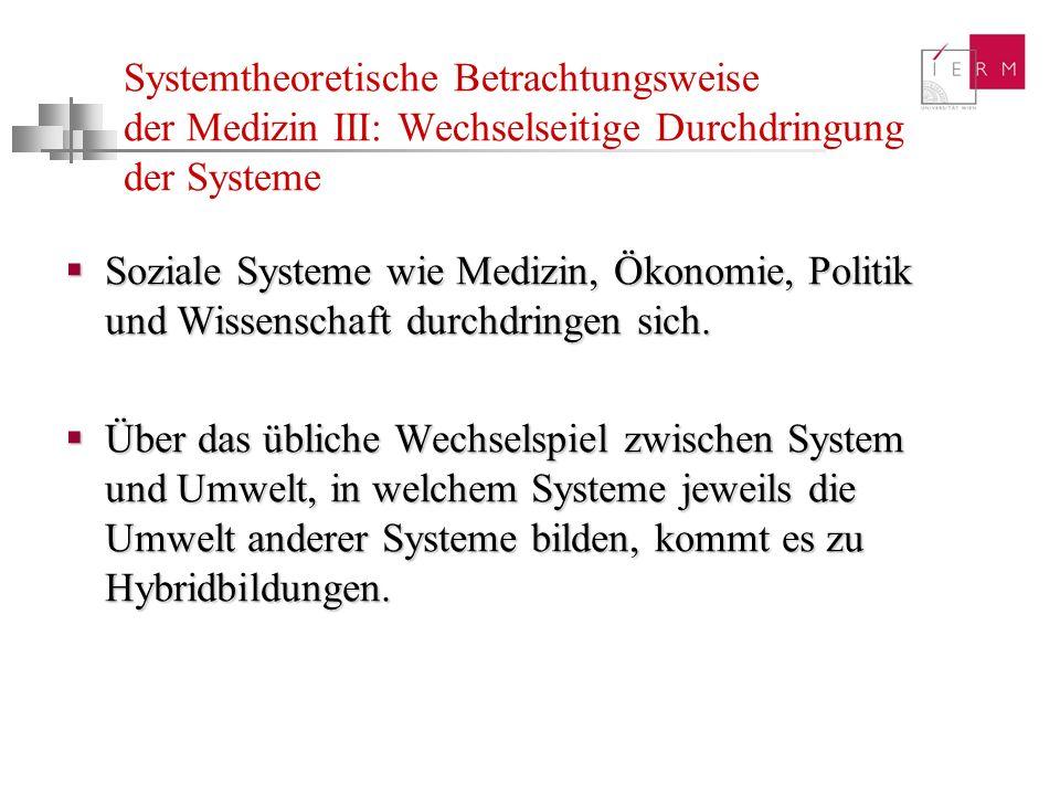 Systemtheoretische Betrachtungsweise der Medizin III: Wechselseitige Durchdringung der Systeme Soziale Systeme wie Medizin, Ökonomie, Politik und Wiss