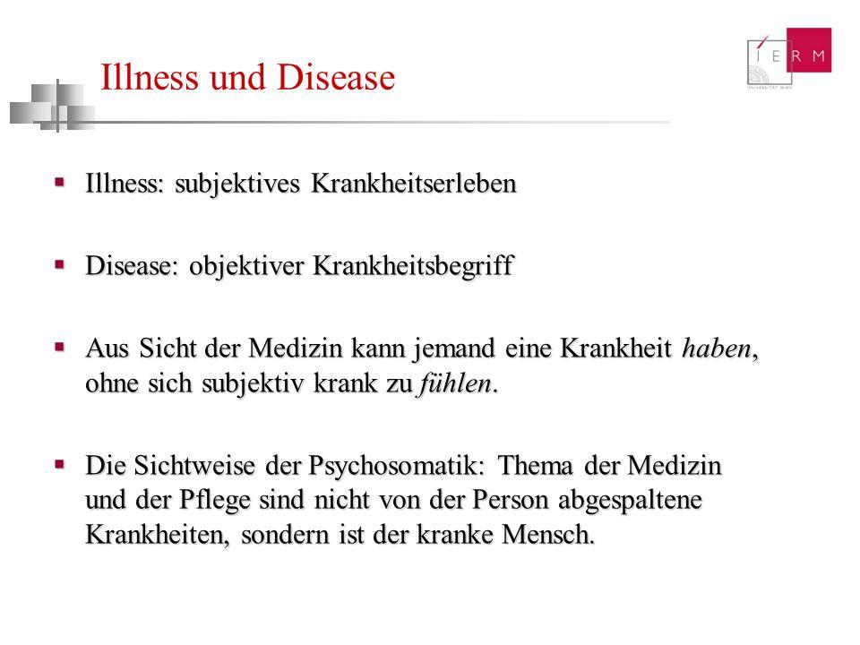 Illness und Disease Illness: subjektives Krankheitserleben Illness: subjektives Krankheitserleben Disease: objektiver Krankheitsbegriff Disease: objek