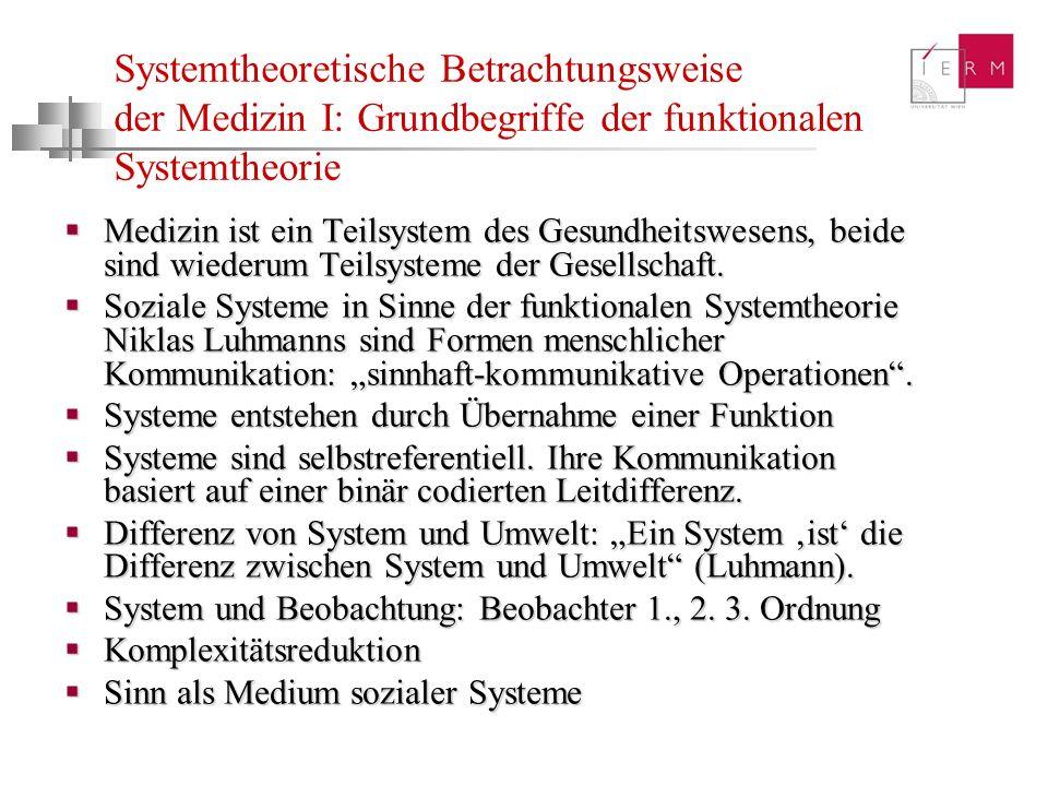 Systemtheoretische Betrachtungsweise der Medizin I: Grundbegriffe der funktionalen Systemtheorie Medizin ist ein Teilsystem des Gesundheitswesens, bei