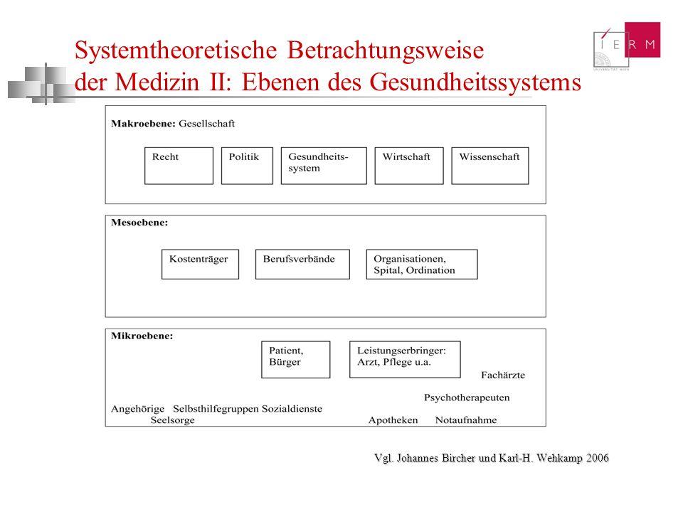 Systemtheoretische Betrachtungsweise der Medizin II: Ebenen des Gesundheitssystems Vgl. Johannes Bircher und Karl-H. Wehkamp 2006