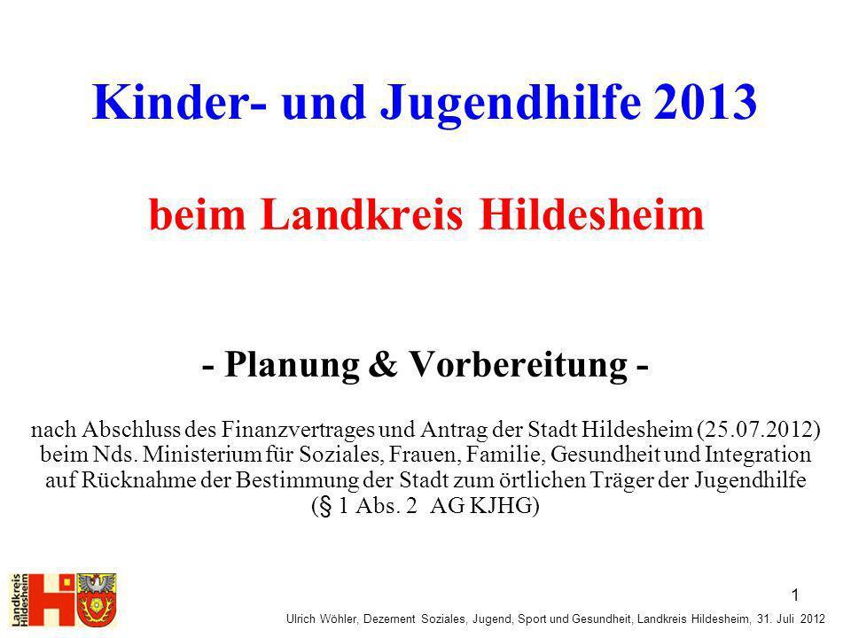 Ulrich Wöhler, Dezernent Soziales, Jugend, Sport und Gesundheit, Landkreis Hildesheim, 31. Juli 2012 Kinder- und Jugendhilfe 2013 beim Landkreis Hilde