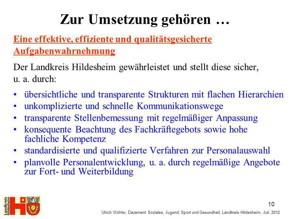 Ulrich Wöhler, Dezernent Soziales, Jugend, Sport und Gesundheit, Landkreis Hildesheim, Juli 2012 Zur Umsetzung gehören … Eine effektive, effiziente un