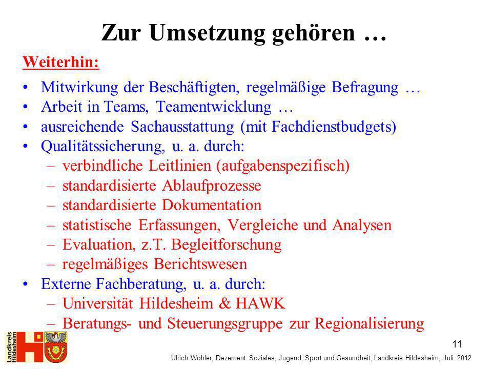 Ulrich Wöhler, Dezernent Soziales, Jugend, Sport und Gesundheit, Landkreis Hildesheim, Juli 2012 Zur Umsetzung gehören … Weiterhin: Mitwirkung der Bes
