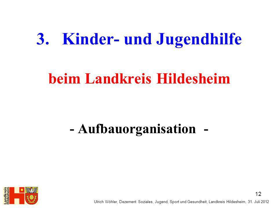 Ulrich Wöhler, Dezernent Soziales, Jugend, Sport und Gesundheit, Landkreis Hildesheim, 31. Juli 2012 3. Kinder- und Jugendhilfe beim Landkreis Hildesh