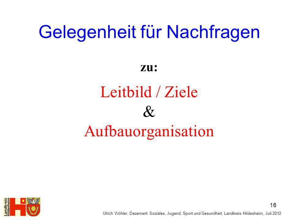 Gelegenheit für Nachfragen zu: Leitbild / Ziele & Aufbauorganisation Ulrich Wöhler, Dezernent Soziales, Jugend, Sport und Gesundheit, Landkreis Hildes