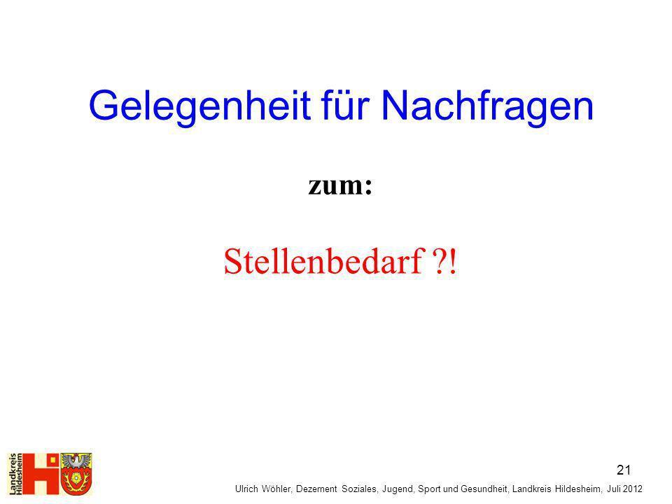 Gelegenheit für Nachfragen zum: Stellenbedarf ?! Ulrich Wöhler, Dezernent Soziales, Jugend, Sport und Gesundheit, Landkreis Hildesheim, Juli 2012 21