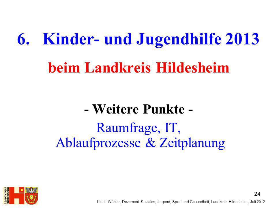 Ulrich Wöhler, Dezernent Soziales, Jugend, Sport und Gesundheit, Landkreis Hildesheim, Juli 2012 6. Kinder- und Jugendhilfe 2013 beim Landkreis Hildes