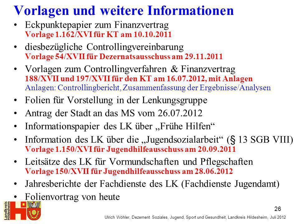 Ulrich Wöhler, Dezernent Soziales, Jugend, Sport und Gesundheit, Landkreis Hildesheim, Juli 2012 Vorlagen und weitere Informationen Eckpunktepapier zu