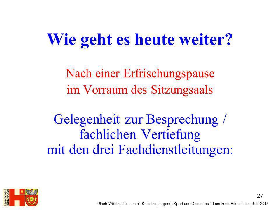 Ulrich Wöhler, Dezernent Soziales, Jugend, Sport und Gesundheit, Landkreis Hildesheim, Juli 2012 Wie geht es heute weiter? Nach einer Erfrischungspaus