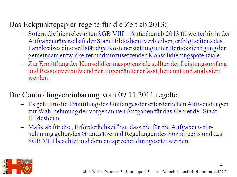 Ulrich Wöhler, Dezernent Soziales, Jugend, Sport und Gesundheit, Landkreis Hildesheim, Juli 2012 Das Eckpunktepapier regelte für die Zeit ab 2013: –So
