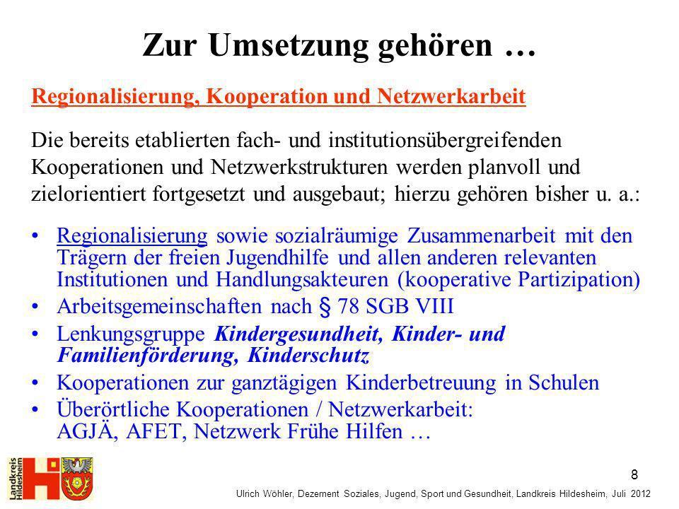 Ulrich Wöhler, Dezernent Soziales, Jugend, Sport und Gesundheit, Landkreis Hildesheim, Juli 2012 Zur Umsetzung gehören … Regionalisierung, Kooperation