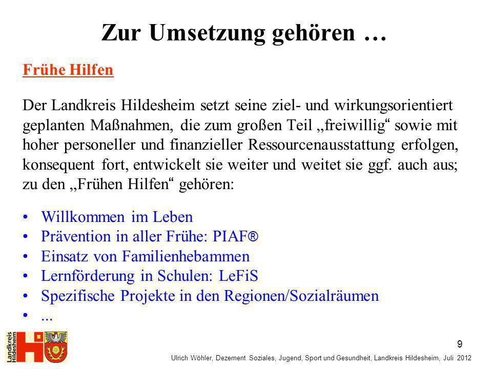 Ulrich Wöhler, Dezernent Soziales, Jugend, Sport und Gesundheit, Landkreis Hildesheim, Juli 2012 Zur Umsetzung gehören … Frühe Hilfen Der Landkreis Hi