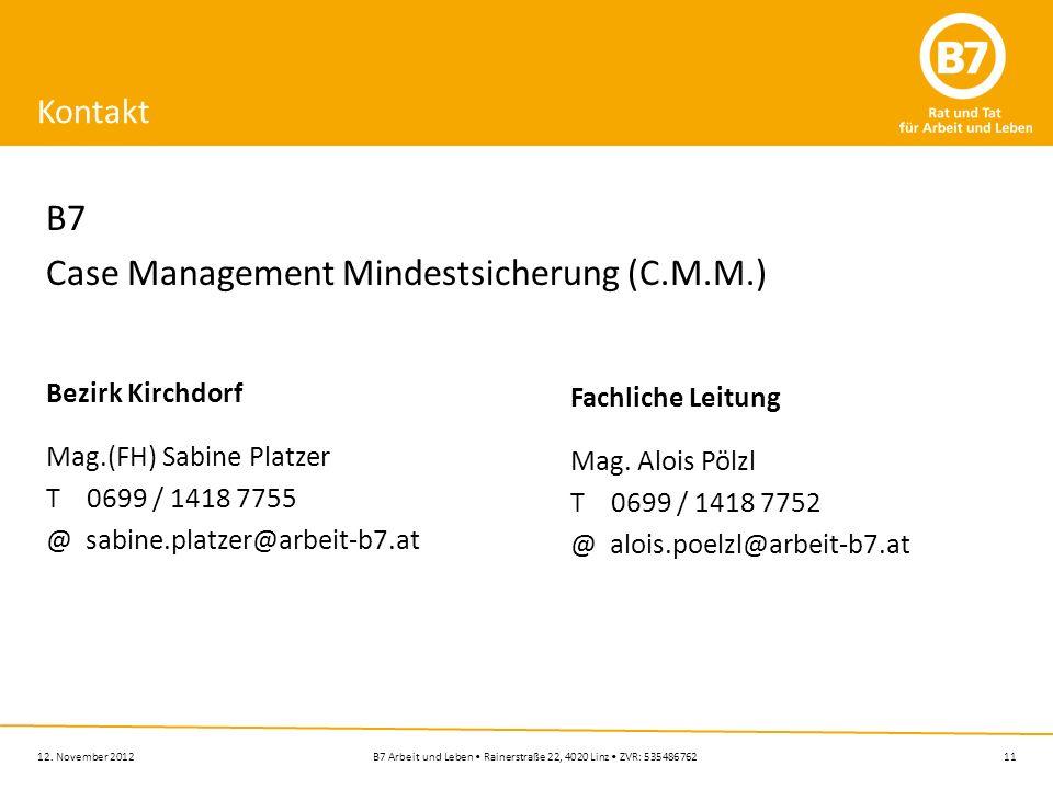 11B7 Arbeit und Leben Rainerstraße 22, 4020 Linz ZVR: 53548676212. November 2012 Kontakt B7 Case Management Mindestsicherung (C.M.M.) Bezirk Kirchdorf