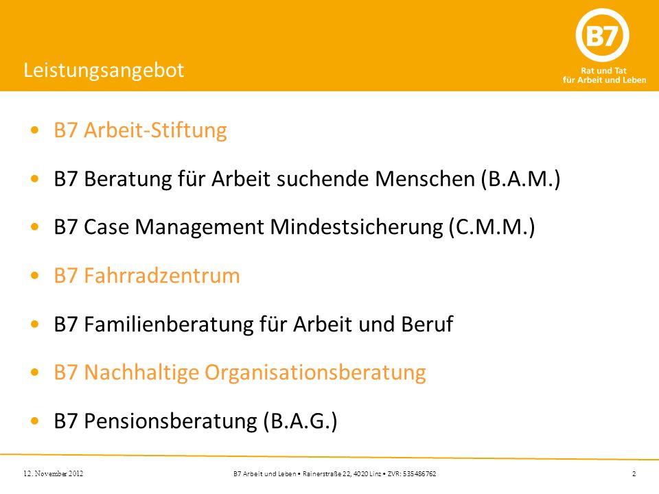 2B7 Arbeit und Leben Rainerstraße 22, 4020 Linz ZVR: 535486762 12. November 2012 Leistungsangebot B7 Arbeit-Stiftung B7 Beratung für Arbeit suchende M