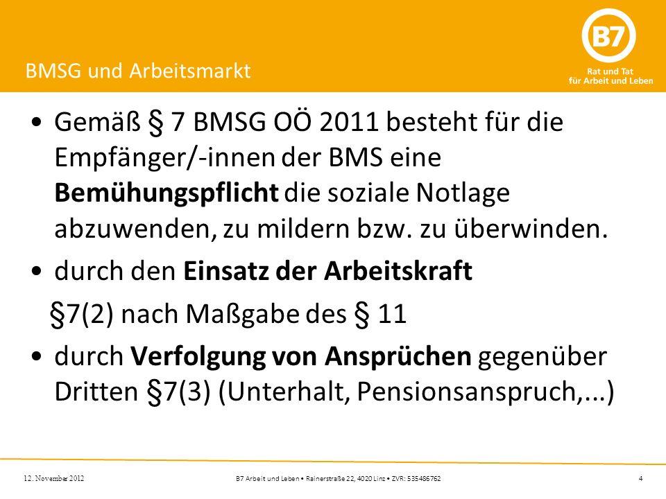 4B7 Arbeit und Leben Rainerstraße 22, 4020 Linz ZVR: 535486762 BMSG und Arbeitsmarkt Gemäß § 7 BMSG OÖ 2011 besteht für die Empfänger/-innen der BMS e