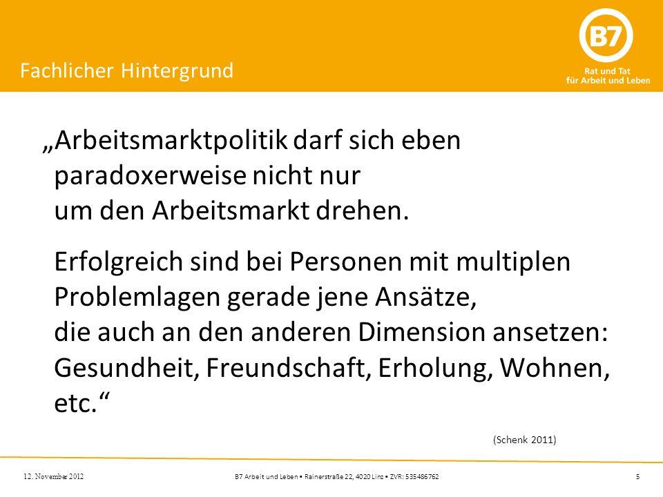 5B7 Arbeit und Leben Rainerstraße 22, 4020 Linz ZVR: 535486762 Fachlicher Hintergrund Arbeitsmarktpolitik darf sich eben paradoxerweise nicht nur um d