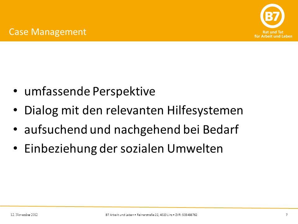 7B7 Arbeit und Leben Rainerstraße 22, 4020 Linz ZVR: 535486762 Case Management umfassende Perspektive Dialog mit den relevanten Hilfesystemen aufsuche
