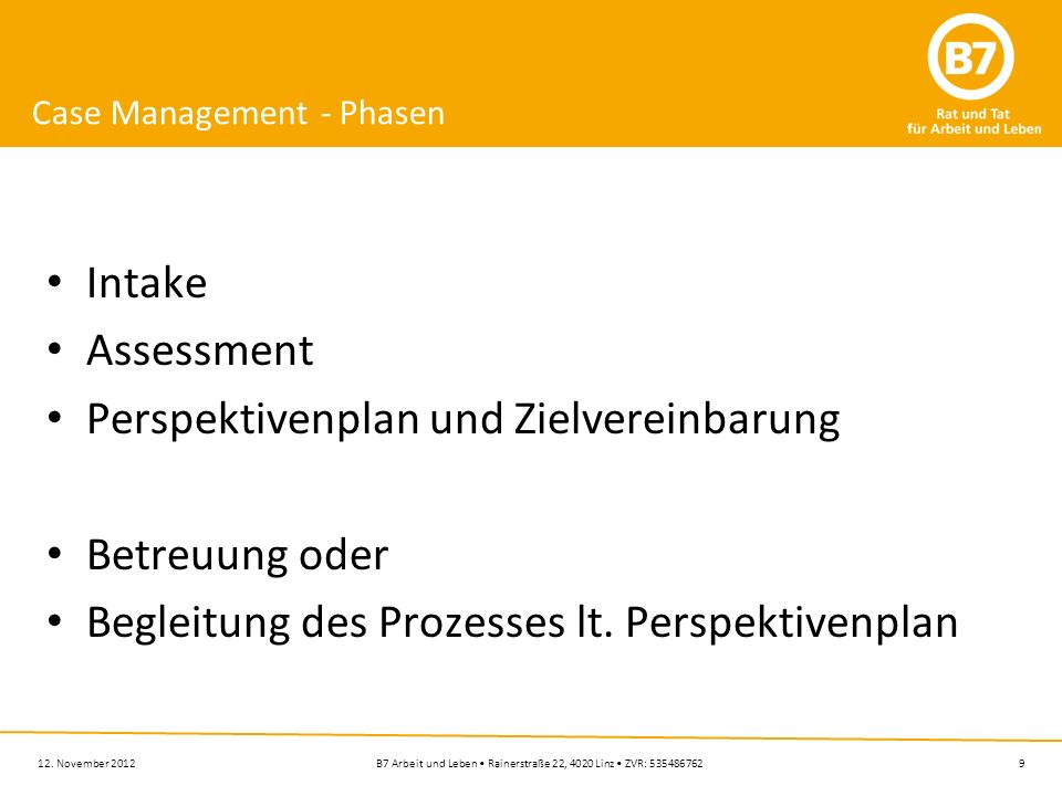 9B7 Arbeit und Leben Rainerstraße 22, 4020 Linz ZVR: 535486762 Case Management - Phasen Intake Assessment Perspektivenplan und Zielvereinbarung Betreu