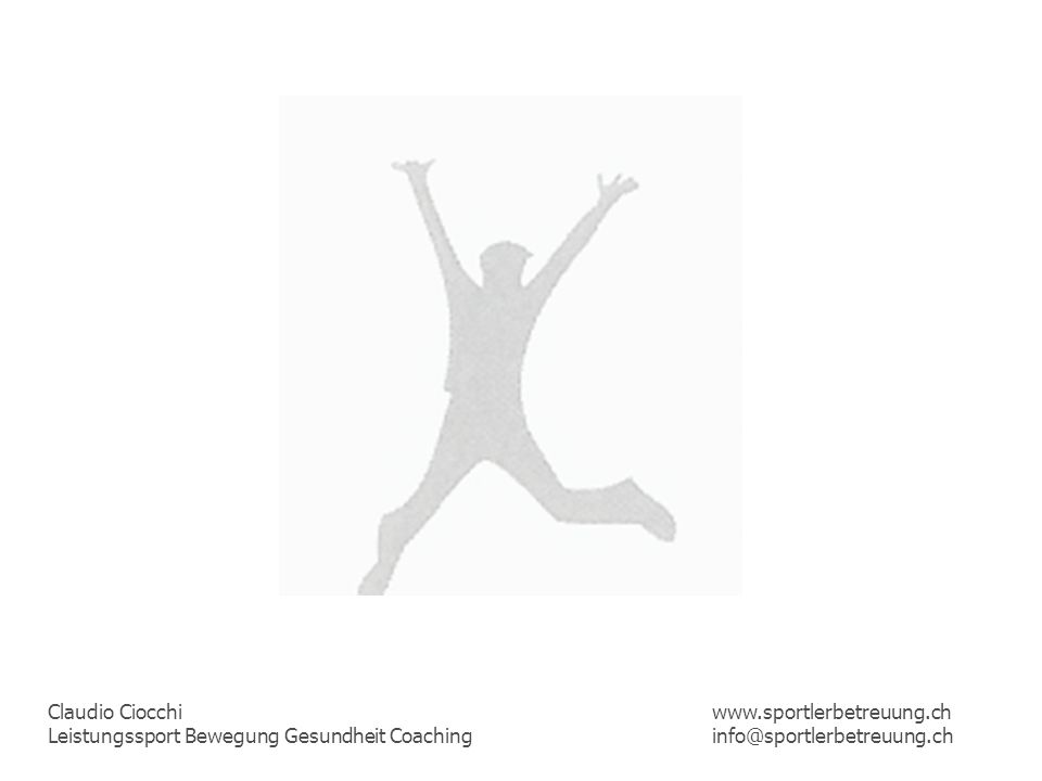 Claudio Ciocchi Leistungssport Bewegung Gesundheit Coaching www.sportlerbetreuung.ch info@sportlerbetreuung.ch Ciocchi Claudio Studium an der ACSM American College of Sport Medicine Universität Basel Sportpsychologiestudium an der Hochschule für Angewandte Psychologie Zürich i.A.
