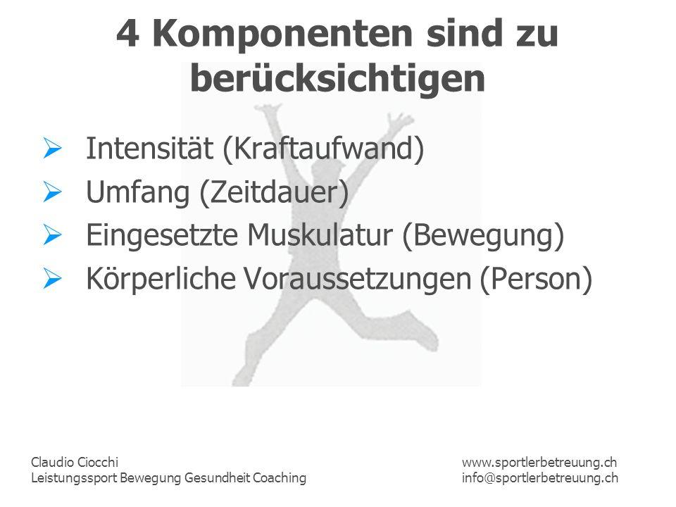 Claudio Ciocchi Leistungssport Bewegung Gesundheit Coaching www.sportlerbetreuung.ch info@sportlerbetreuung.ch 4 Komponenten sind zu berücksichtigen I