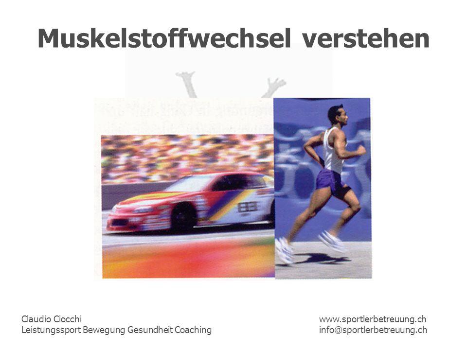 Claudio Ciocchi Leistungssport Bewegung Gesundheit Coaching www.sportlerbetreuung.ch info@sportlerbetreuung.ch Muskelstoffwechsel verstehen