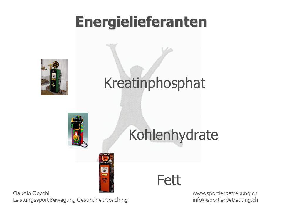 Claudio Ciocchi Leistungssport Bewegung Gesundheit Coaching www.sportlerbetreuung.ch info@sportlerbetreuung.ch Energielieferanten Kreatinphosphat Kohl