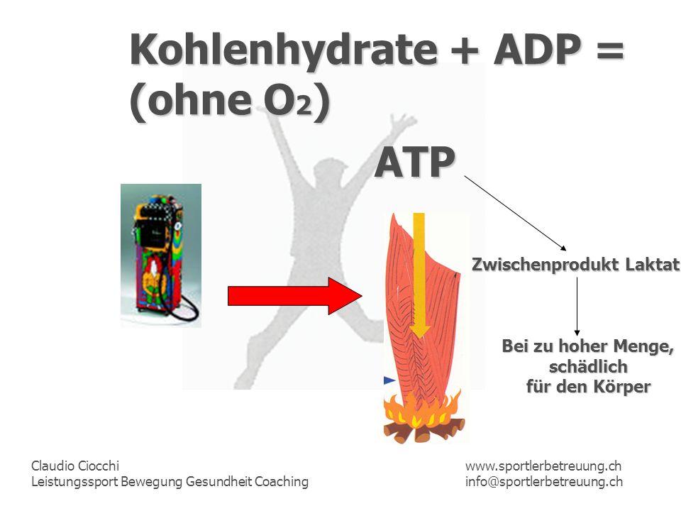 Claudio Ciocchi Leistungssport Bewegung Gesundheit Coaching www.sportlerbetreuung.ch info@sportlerbetreuung.ch Kohlenhydrate + ADP = (ohne O 2 ) ATP Z